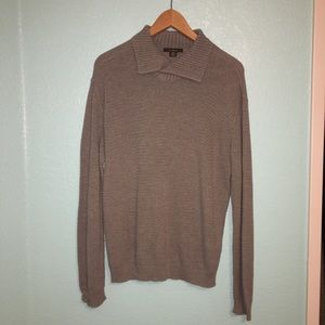 GREY KNIT COLLARED LONG SLEEVE
